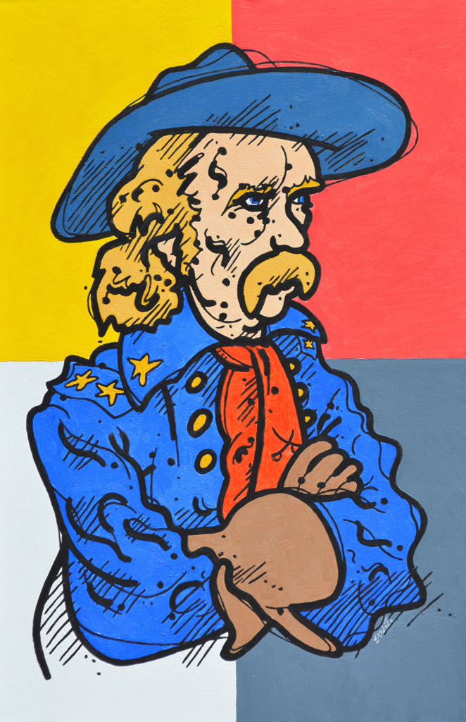 le: Entitled: portrait of Custer in a Blue Hat Material: oil on canvas Size: 30x20 Year: 2010