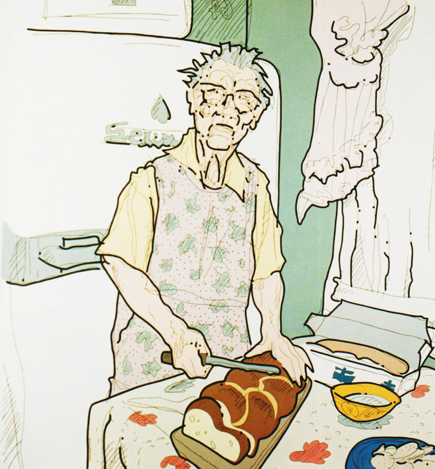 Steve Justice Painting Title: Aiti Pullankanssa Material: oil on canvas Size: 72x60 Year: 1989 This is a portrait of my Finnish grandmother. Pulla is Finnish coffee bread.