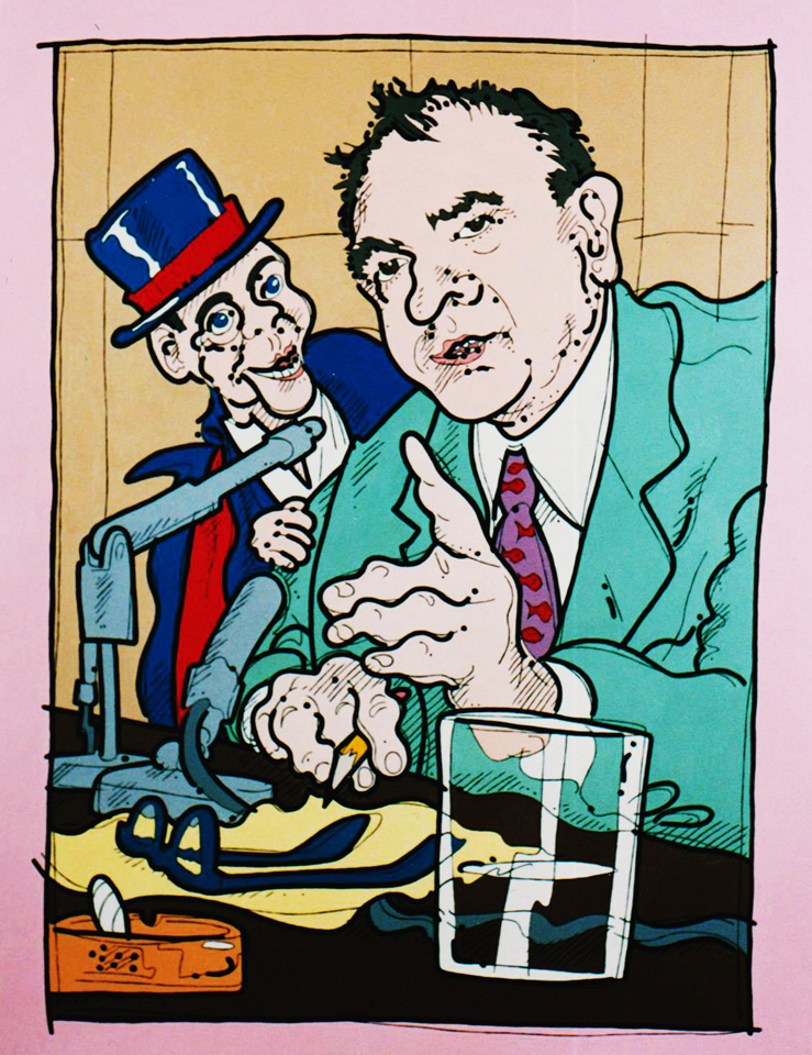 "Steve Justice Painting Title: Are You Now or Have You Ever Been? SOLD Material: oil on canvas Size: 60x46 Year: 1992 ""McCarthyism is Americanism with its sleeves rolled up."" -- Joseph McCarthy Two McCarthy's, Joe and Charlie. This painting is now a part of the Butler collection."