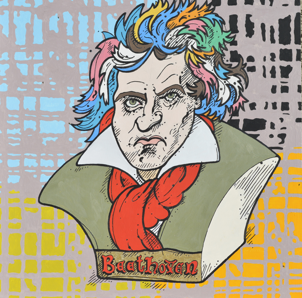 "Steve Justice Painting Title:  Bust o' Beethoven Material:  oil on wood Size:  30x30 Year:  2015  ""You will ask where my ideas come from.  I cannot say for certain.  They come uncalled, sometimes independently, sometimes in association with other things.  It seems to me that I could wrest them from Nature herself with my own hands, as I go walking in the woods.  They come to me in the silence of the night or in the early morning, stirred into being by moods which the poet would translate into words, but which I put into sounds; and these go through my head ringing and singing and storming until at last I have them before me as notes.""  -- Ludwig van Beethoven.  I don't know whether it was acute sense memory or a synesthetic ability to see music that informed Beethoven's ability to compose such big music, though he was deaf.  In this work, I re-animate his bust, here positioned in front of the clamor of colors, staffs and symbols his own ordered, disordered mind may have resembled.  His wild hair is colored to suggest Milton Glaser's iconic Bob Dylan poster."