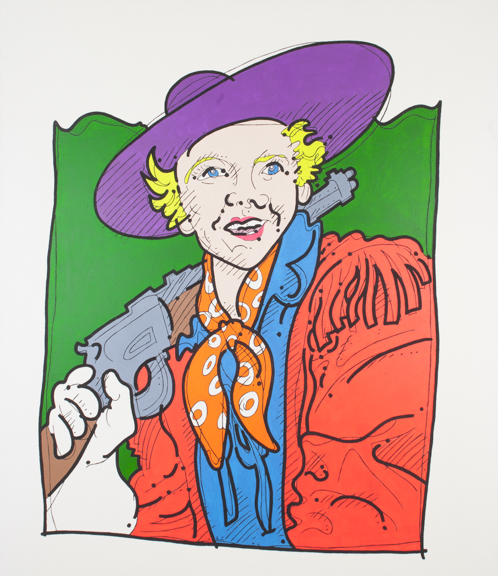 """Steve Justice Painting Title: Doris Daydream Material: acrylic and oil on canvas Size: 50x48 Year: 1992 """"Vulgarity begins when imagination succumbs to the explicit."""" -- Doris Day Calamity Jane actually more closely resembled k.d. lang than America's sweetheart, Doris Day. On this painting I used both oil paint and fluorescent acrylic paint."""