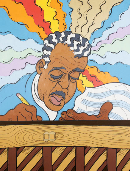 "Steve Justice Painting Title: East St. Louis Buddha-loo: portrait of Duke Ellington 10 Material: oil on canvas Size: 60x48 Year: 2013 ""I merely took the energy it takes to pout and wrote some blues."" -- Duke Ellington Duke Ellington's superhuman inspiration and productivity are described here with rivers of fire and water in dialog with the universe. His hair is highlighted to suggest piano keys and to resemble the art found on vintage jazz sheet music. He wears a choir robe to remind us of the early musical workout so many black musicians received in the church. The face on the pencil is a nod to Max Fleischer, a sometimes client of the Duke. Anyone who has spent any time in grade school music class or choir practice can recognize the back of an upright piano. The title riffs on Ellington's ""East St. Louis Toodle-oo""."