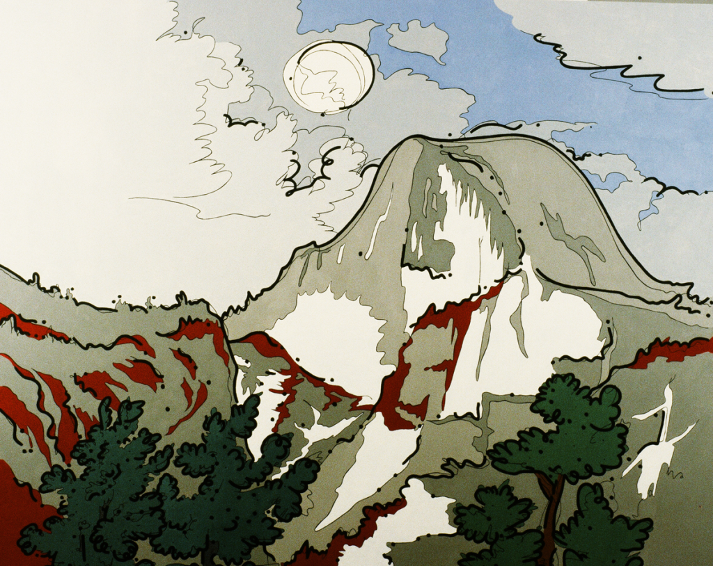 "Steve Justice Painting Title:  Fool Moon Over Half Dome     SOLD Material:  oil on canvas Size:   56x72 Year:  1990  ""We all move on the fringes of eternity and are sometimes granted vistas through the fabric of illusion.""  -- Ansel Adams  ""Fool Moon"" is a colorization of a classic Ansel Adams subject, with a remark on our misguided environmental attitudes."