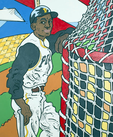 "Steve Justice Painting Title:  Rust Belt Hero: portrait of Roberto Clemente Material:  oil on canvas Size:  58x48 Year:  2013  ""When I wake up in the morning, I pray I am still sleeping.""  -- Roberto Clemente  Pittsburgh Pirates outfielder Roberto Clemente was baseball's first Latino superstar.  With his ascendancy the game became faster and the flat-footed Yankee-style of baseball became a thing of the past.  Though his organization was (and still is) racially progressive in nature, Clemente had to deal with much of the same discrimination, miscommunication and cultural disconnect that other immigrants feel.  In this painting he knows we're here to watch him hit baseballs, something he does very well.  The digital numerals before him hint at the new, electronic sport that lies ahead, but here the hero waits in hokey old Forbes Field, which is shattered into the colors of the Caribbean, of major league stadium sports, and of the flag of Puerto Rico."