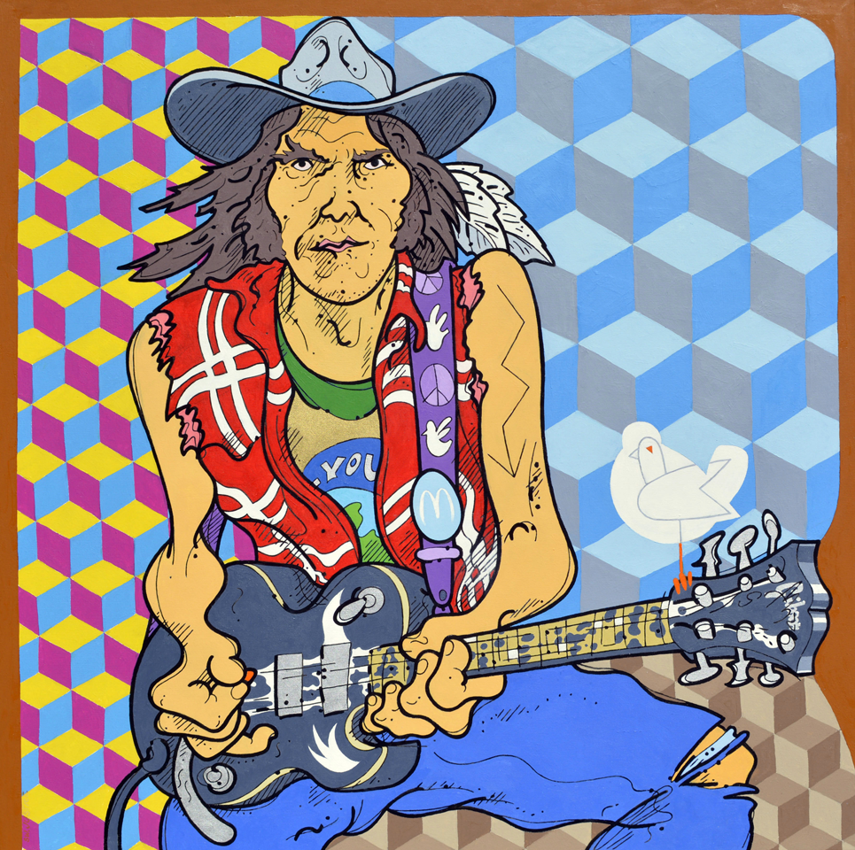 """Steve Justice Painting Title:  The Color of Smoke: portrait of Neil Young Material:  oil on canvas Size:  54x54 Year:  2014  """"Sometimes when I'm writing a song I can feel there's other things in me that are not me.  That's why I hesitate to edit my songs.  If it's something I have to think about and contrive, work at, it's usually not that good.  My best work just comes through me.  A lot of times what comes through me is coming from somewhere else … I think we're all vehicles for each other.""""  -- Neil Young  Neil Young takes leave of himself when he charges off on a guitar solo.  In this painting, I resisted the cliche of depicting a guitar hero with abstract splashes, smears and slashes.  I instead chose the arcane autobiographical and anthroposophical details and tendencies that Neil himself might use, including here a classic Americana decorative motif (cube quilts, Whitehall glass etc), in this case colored as sky, sepia and psychedelia.  The title comes from a note I made to myself on one of my color studies."""