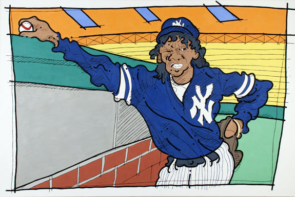 "Steve Justice Painting Title:  Where Have You Gone, Pascual Perez? Material:  oil on canvas Size:  48x72 Year:  1991  This painting looks at our minorities and how they are expected to play up to their stereotype or be declared a rebel or an outsider.  Think of Yogi Berra and Joe Dimaggio.  The title is borrowed from Paul Simon's ""Mrs. Robinson"", altered here to suit my needs."