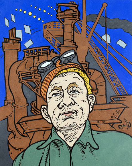 "Steve Justice Painting Title:  You Don't Know Joe Sibbitt Material:  oil on canvas Size:  30x24 Year:  2013  ""There never was a great character who did not sometimes smash the routine regulations and make new ones for himself.""  -- Andrew Carnegie  Joe Sibbitt is a fictitious any-man in the blue-collar Pittsburgh I grew up in.  Someone might actually know someone who knows him, since all Pittsburghers seem to be related by only 2-3 degrees of separation.  The bigger-than-man machinery, the dirt, the rivers, the twinkling lights and the houses clinging to hillsides, were all things I grew up with and took for granted."