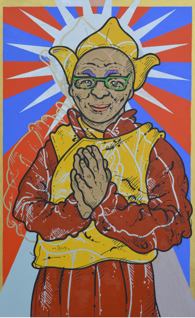 Steve Justice StudioTitle: HH14: portrait of the Dalai Lama Material: Oil on canvas Size: 48x30 Year: 2016