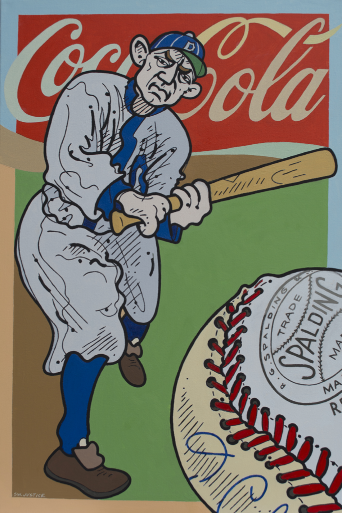 Steve Justice Studio Title: Hell With It's Pants On: portrait of Ty Cobb Material: Oil on canvas Size: 36x24 2016