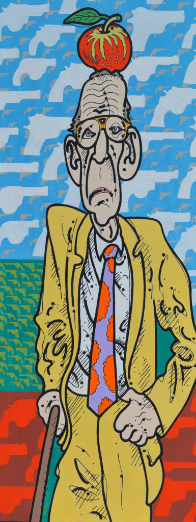 Steve Justice StudioTitle: William Tell Overshare: portrait of William Burroughs Material: Oil on canvas Size: 60x24 Year: 2016