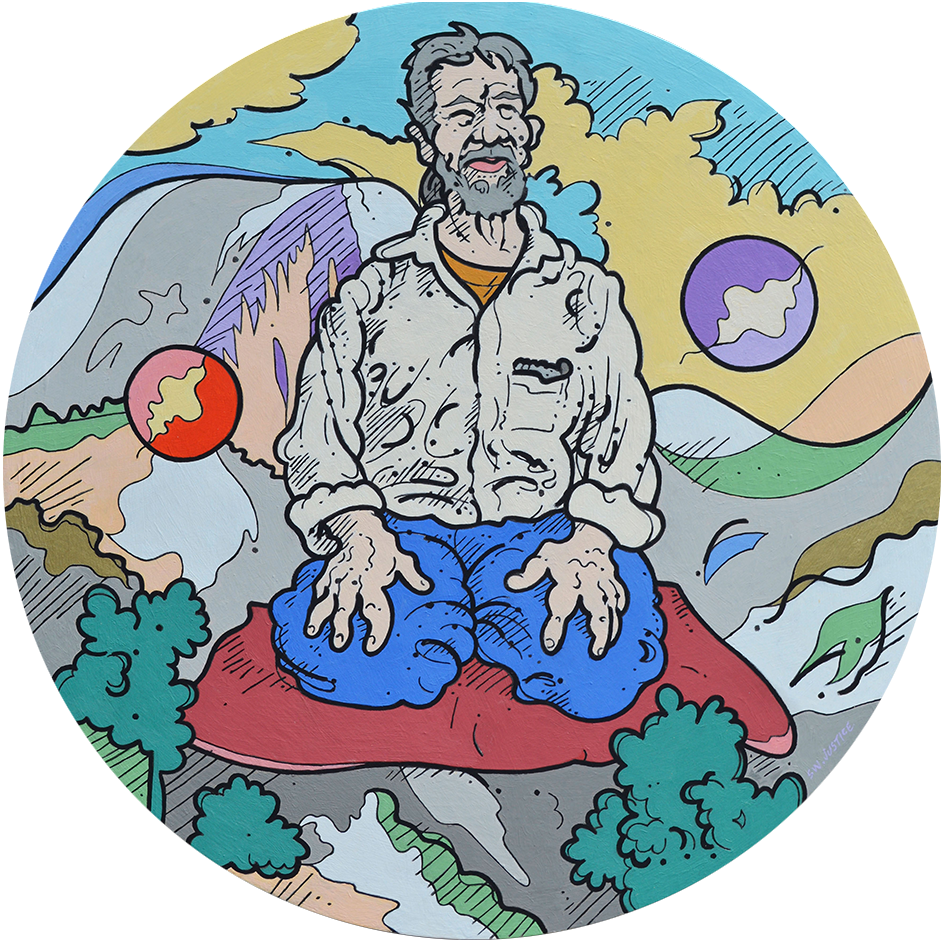 Steve Justice Studio Title: Yosemite Yin Yang: portrait of Gary Snyder Material: Oil on canvas Size: 36 diameter Year: 2016