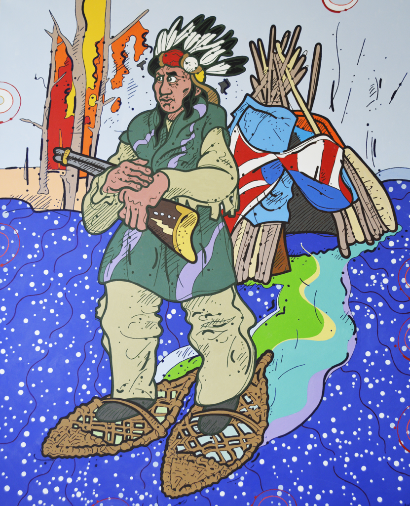 "Steve Justice Painting Title: Upstate Man Material: oil on canvas Size: 60x48 Year: 2014 ""We do not wish to destroy your religion, or take it from you. We only want to enjoy our own."" -- Handsome Lake This experiment in line and color describes an Ojibwe Indian as a mythical man in an inverted world, so that he shuffles across the sky in snowshoes, creating the Northern Lights in his wake. His lodge is built using blue tarp, surplus traffic signs and even a twisted flag, a sympathetic comment on life on the reservation."